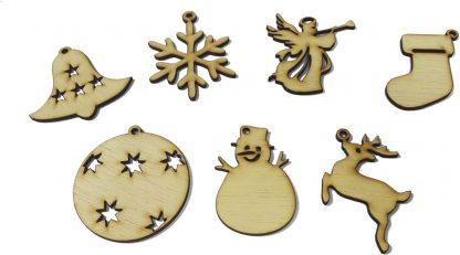Set ornamente brad din lemn
